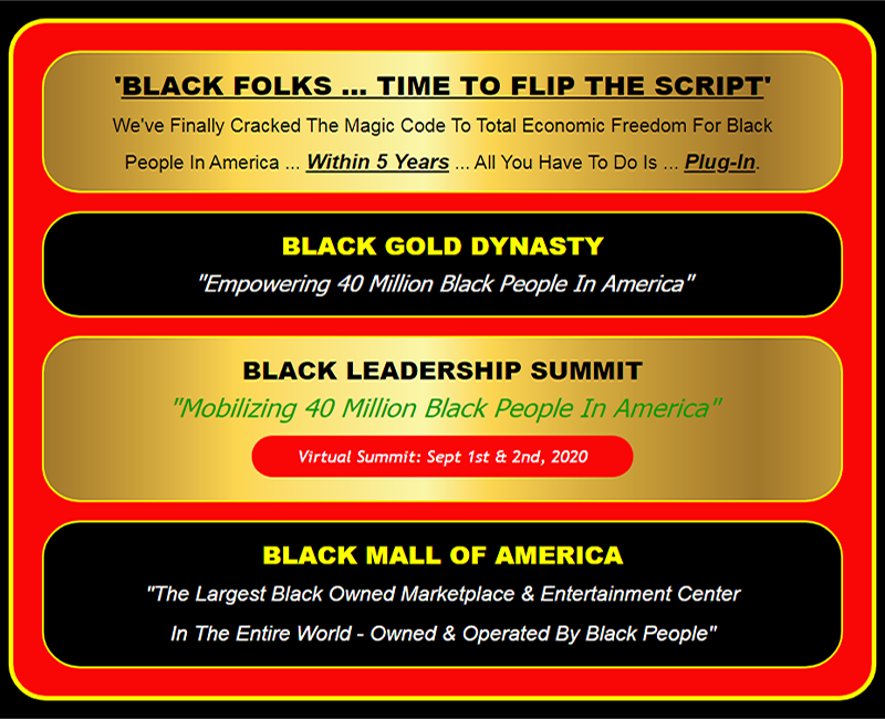 Black Leadership Summit, Black Mall of America, Black Gold Dynasty